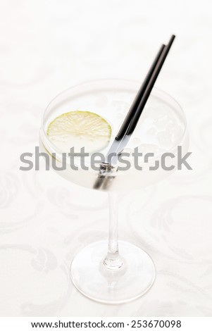 cocktail with lime - stock photo