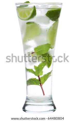 cocktail with lime and mint on white background - stock photo
