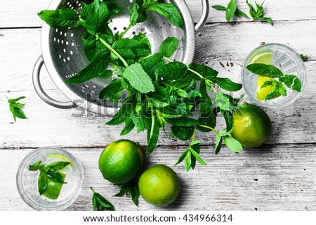 Cocktail with lime and mint.Two glasses with a cool drink of mineral water and lime - stock photo