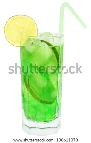 Cocktail with lime on white background.