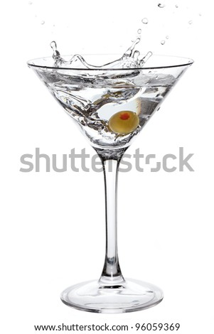 Cocktail with olive splash isolated on white - stock photo