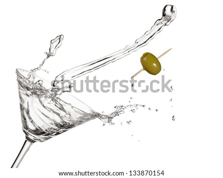 Cocktail with olive up - stock photo