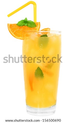 Cocktail with orange juice and ice cubes decorated leaf mint on white background.