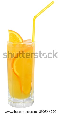 Cocktail with orange juice and ice cubes on white background. - stock photo