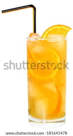 Cocktail with orange juice with ice cubes on white background. - stock photo