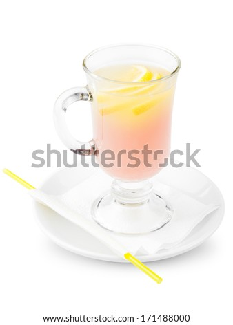 cocktail with slices lemon - stock photo