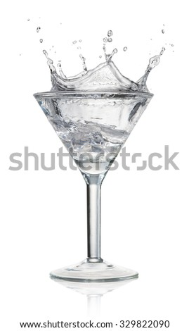 cocktail with splash isolated on white - stock photo