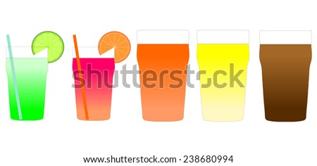 Cocktails and beers illustration including Mojito, Bitter, Lager and Stout - stock photo
