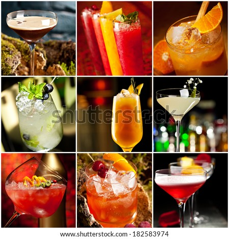 Cocktails Collage - stock photo