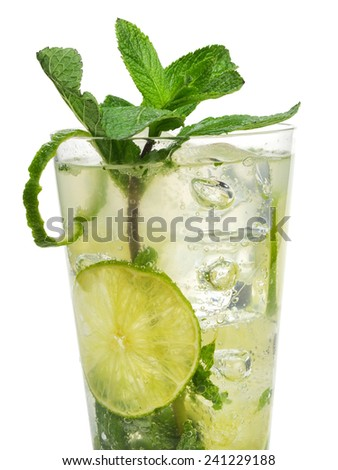 Cocktails Collection - Mojito. Contains 3 fresh mint sprigs, 2 tsp sugar, 3 tbsp fresh lime, uice, 1 1/2 oz light rum, club soda