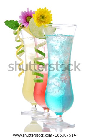Cocktails drinks beverages mojito, tropical Martini, tequila sunrise, margarita, champagne and cognac glass, cocktail umbrella, cherry, lime and pineapple on white background - stock photo