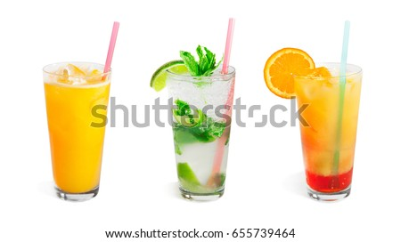 Cocktails on isolated white
