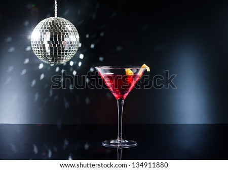Cocktails on the disco dance floor - stock photo