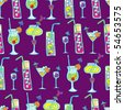 Cocktails purple seamless pattern - stock photo