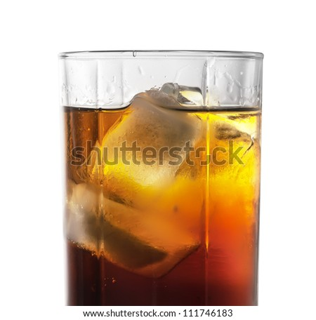 cocktails rum-cola with ice isolated on a white background