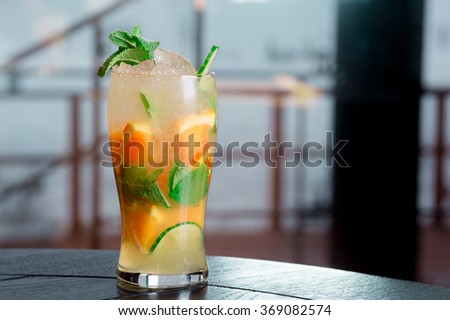 cocktails, soft drinks , juice