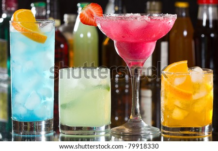 cocktails with fruits - stock photo