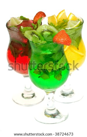 cocktails with fruits isolated on white background