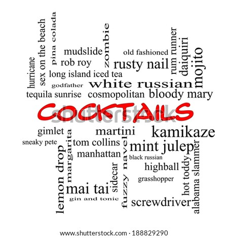 Cocktails Word Cloud Concept in red caps with great terms such as martini, highball, gimlet and more.