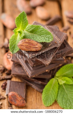 Cocoa bean with mint on a broken dark chocolate bar - stock photo