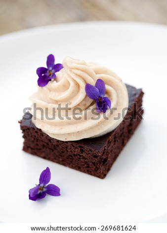 Cocoa brownie with banana ice cream served on plate - stock photo