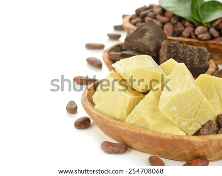 Cocoa butter on white background - stock photo
