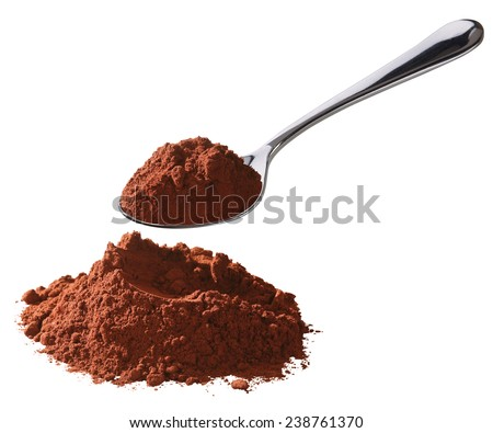 cocoa chocolate powder with spoon - stock photo