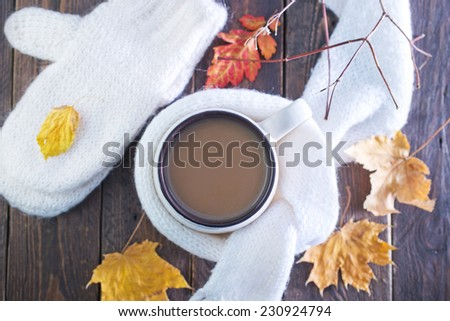 cocoa drink in cup and on a table - stock photo