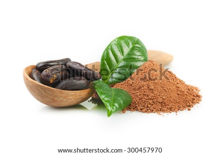 Cocoa powder and cocoa beans on white - stock photo