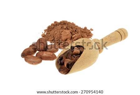 cocoa powder and cocoa beans with wooden scoop isolated on white background .Shallow depth of field.  - stock photo