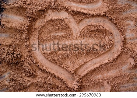 cocoa powder from above - close up of heart on textured background - stock photo