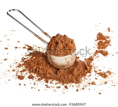 cocoa powder in a scoop  isolated on white background - stock photo