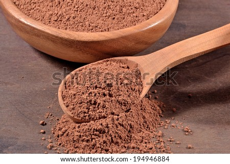 Cocoa powder in a wooden spoon