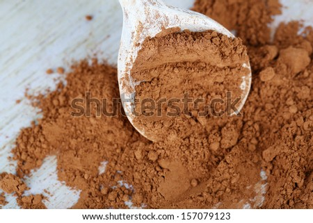 Cocoa powder in spoon on wooden background