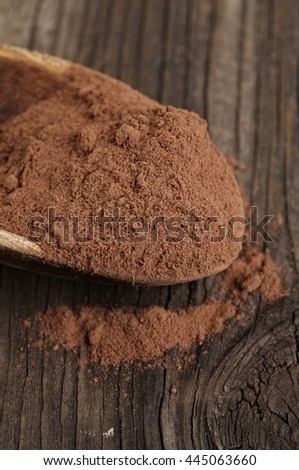 Cocoa powder in wooden spoon