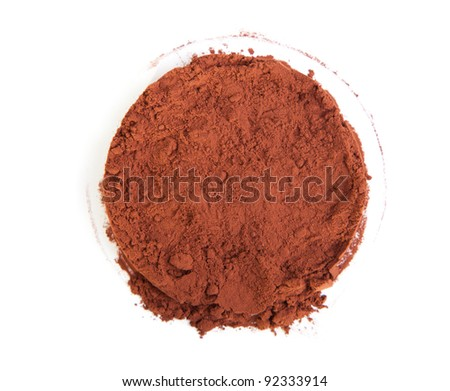 Cocoa powder on a white background - stock photo
