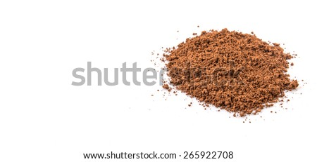 Cocoa powder over white background