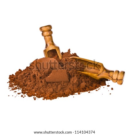 cocoa powder pour into the pyramid with wooden scoop isolated on white background - stock photo