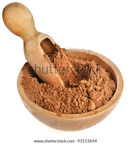 cocoa powder with wooden scoop  isolated on white background - stock photo