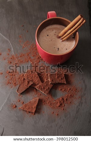 cocoa with cinnamon and cookies ametarro Italian sweets. Flat Lay. Top view. - stock photo