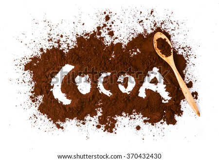 Cocoa written with cocoa powder isolated on white background