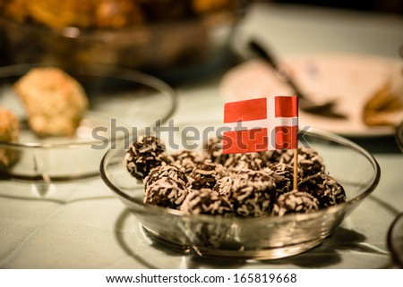 Coconut and chocolate confectionery served at christmas time - stock photo