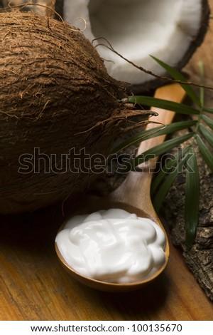 Coconut and coconut oil - stock photo