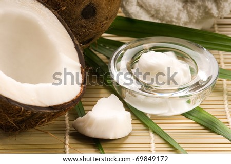 Coconut and coconut oil - stock photo