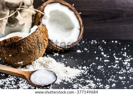Coconut and coconut oil for alternative therapy and cooking - stock photo