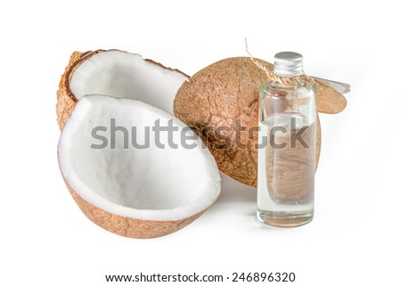 coconut and coconut oil for natural spa on white background - stock photo