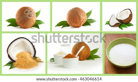 Coconut and coconut products isolated on white
