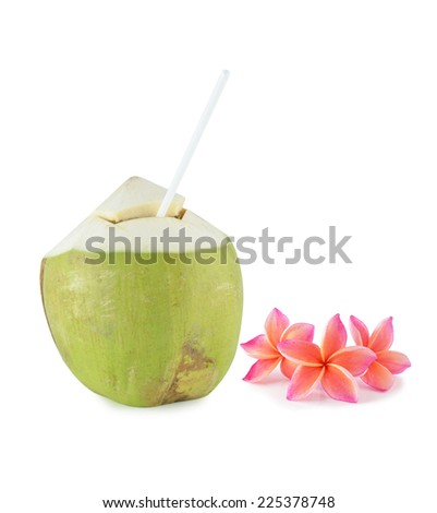 coconut and colorful plumeria flower isolated on white
