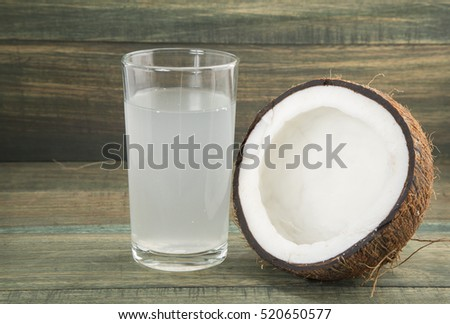 Coconut and water on wooden background