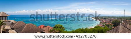Coconut bay in Lembongan island, Indonesia, famous and beautiful place for snorkeling, diving  - stock photo